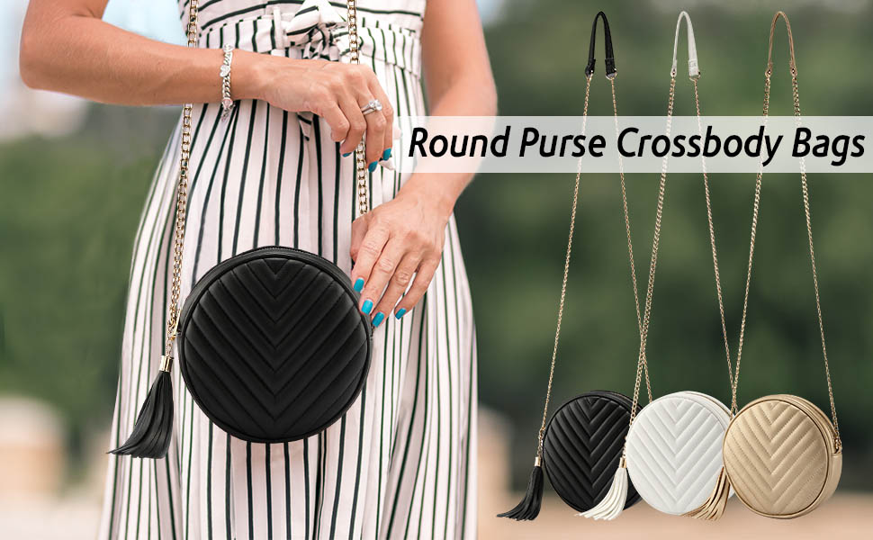 Women Crossbody Shoulder Bag Circle Tassel Purse Clutch Evening Small PU leather Handbag With Chain