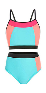 Girls Swimsuit Bright Color Block Size 7-14