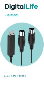 Câble d'interface USB de type C pour clavier MIDI piano MIDI contrôleur MIDI pour signal MIDI