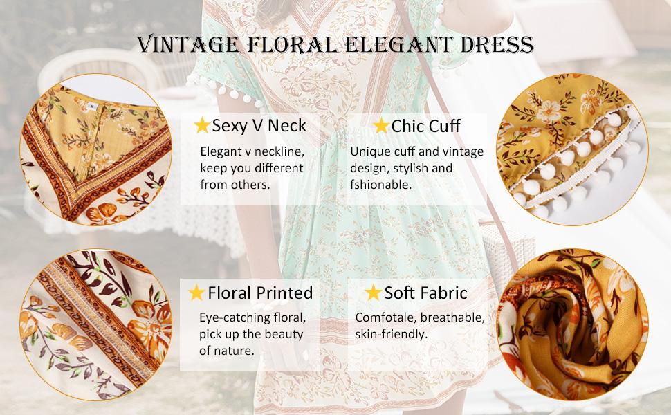 vintage floral elegant dresses