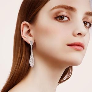 white crystal prom jewelry dangle Earrings