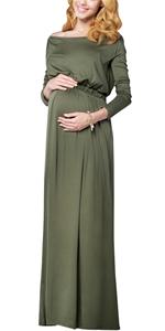 Happy Cherry Robes Maternit/é Mousseline /à Manches Longues Col Bateau Femme Enceinte Robe avec Culotte pour Grossesse Photographie Props Rose