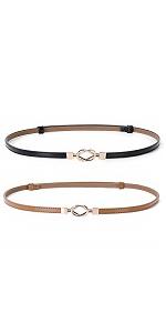 grace women skinny waist leather belt