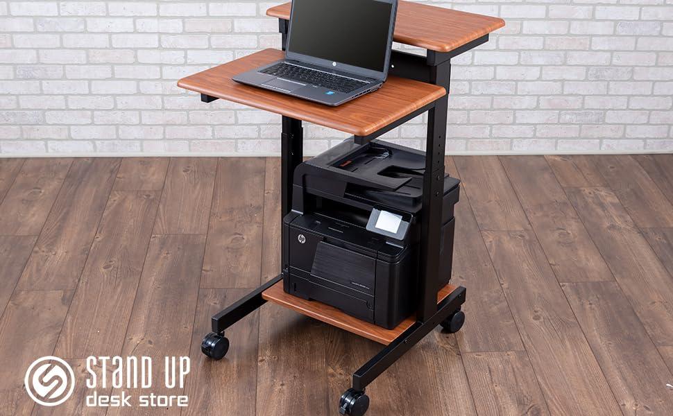 Stand Up Desk Store Two Tier manual height adjustable mobile standing desk teak top black frame