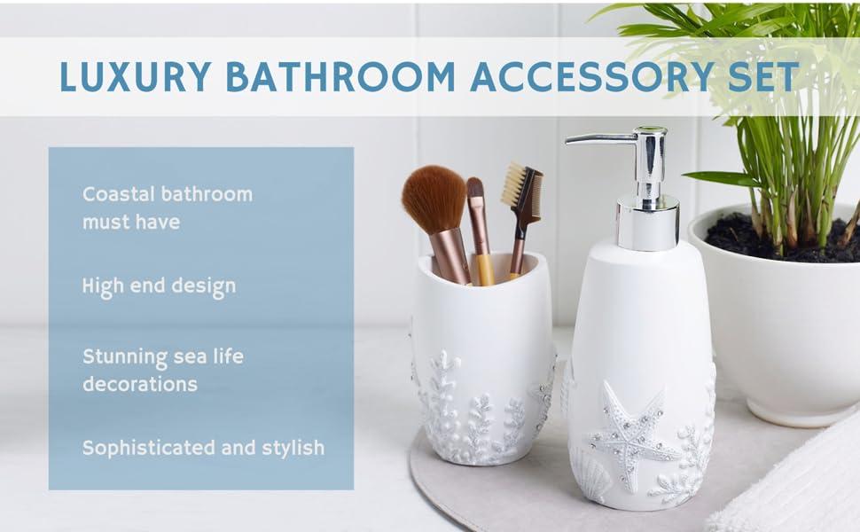 Coastal Sea Life Toothbrush Holder Resin Soothing Shells Bathroom Stand Decor