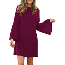Manydress Women's Dress Long Bell Sleeve Elegant Mini Shift Party Dress MY049