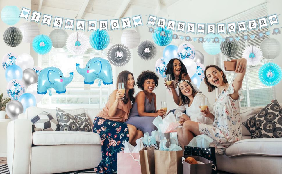 baby shower elephant decor kit all in one blue gray white blocks theme bear decorations boy safari