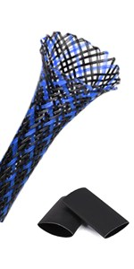blue wire sleeving,blue wire loom,blue braided cable sleeve,PET expandable braided sleeving