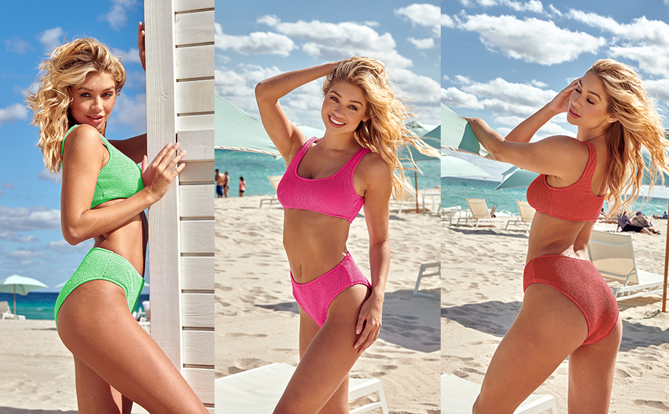 Womens Swimsuits Two Piece Sports Bathing Suits Crop Tops Ribbed Bikini Sets Swimwear Bottoms