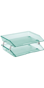 acrimet facility letter tray 2 tier side load clear green color