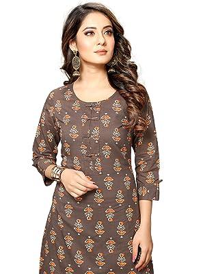 Rajnandini Women's Cotton Jaipuri Floral Printed Kurti (S To XXL-Size)