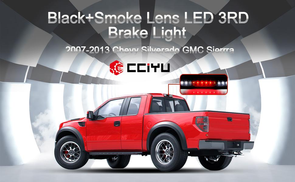 Chrome+ Smoke Lens cciyu LED 3rd Brake Lights Cargo Lamp Assembly Automotive Tail Lights Smoke Lens Replacement fit for 2007-2013 Chevy Silverado GMC Sierra