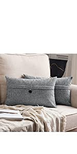farmhouse linen burlap pillows grey gray with vintage buttons fall decor