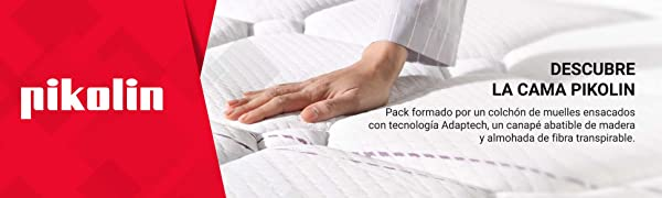 PIKOLIN Pack Colchón Troas de muelles ensacados 135x190 + canapé con Base abatible y 2 Almohadas de Fibra