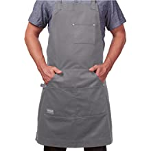 Hudson cotton apron gray hands in pockets