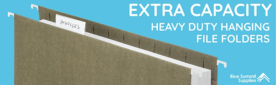 Blue Summit Supplies Extra Capacity Hanging File Folders