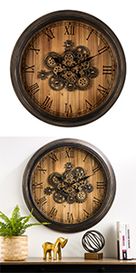"""27""""D Industral Oversized Wooden/Metal Wall Clock"""