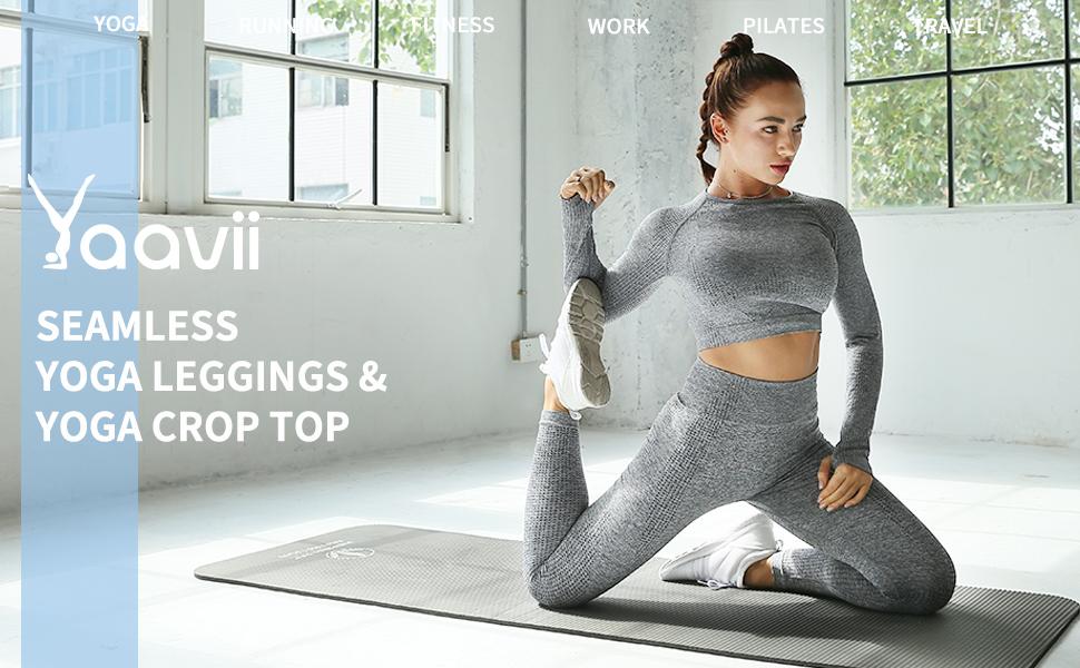 Yoga Leggings Seamless High Waisted Tummy Control Yoga Pants for Gym Running Workout