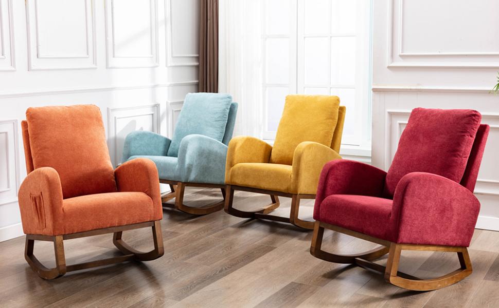 Dolonm Rocking Chair Mid-Century Modern Nursery Rocking Armchair