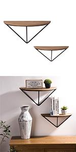 "19"" Half-Round Farmhouse Metal/Wooden Floating Shelves"