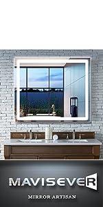 mavisever 40x32 inch led lighted mirror wall mounted bathroom backlit vanity lighted mordern mirror