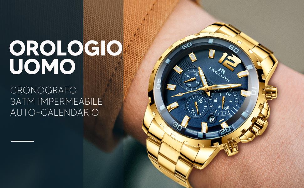 Orologio Militare Acciaio Oro Cronografo Blu