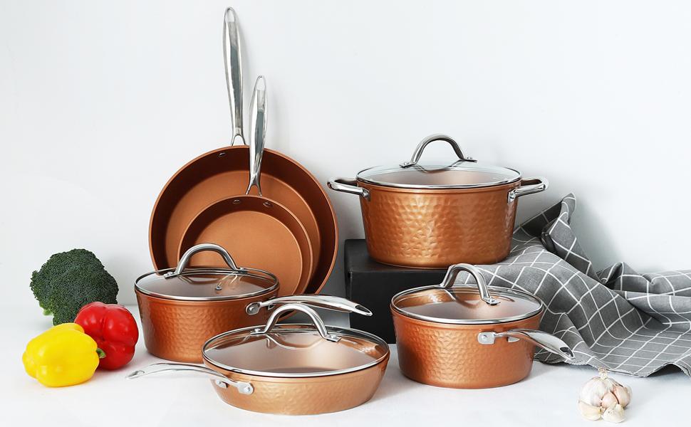 hammered copper cookware set