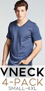vneck mens tshirt shirt tee men man guy short sleeve 2x 3x 4x soft comfy pack bulk set quantity