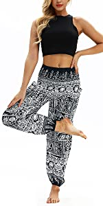 Mujer Hippie Thai Algod/ón Harem Pantalones con Bolsillo Boho Estampados Sueltos Pantal/ón Cintura Alta Indios Yoga Pants Pijama Verano Playa