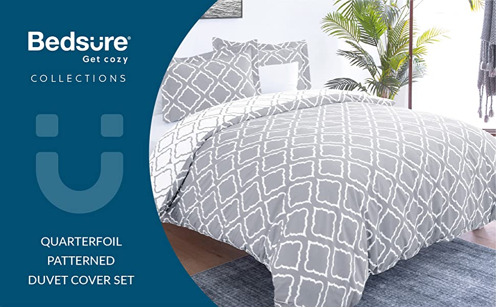 get cozy with the Bedsure Bedding Printed Duvet Cover Set - Diamond Plaid Grey