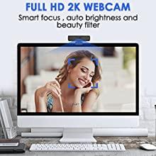 Webcam for PC, Web Computer Camera, Business Webcam, 2K