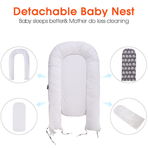 Azure//Crown Detachable and Washable Portable Baby Nest with 2 Mattresses