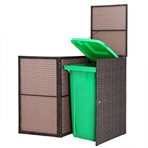 Casaria Cobertizo para contenedor de basura cubo de basura de 240L Poliratán 113x77x62cm con tapa Marrón jardín exterior: Amazon.es: Jardín