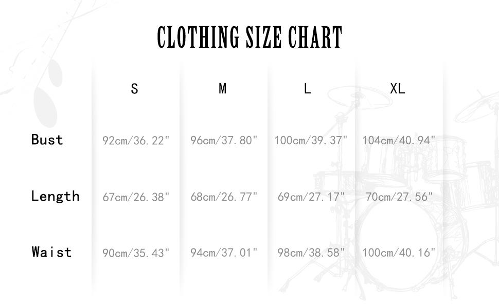 size chart of rap shirts
