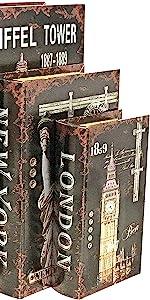 London Paris New York Secret Storage Book Box Memories Jewelry Trinket Hobby Keepsake