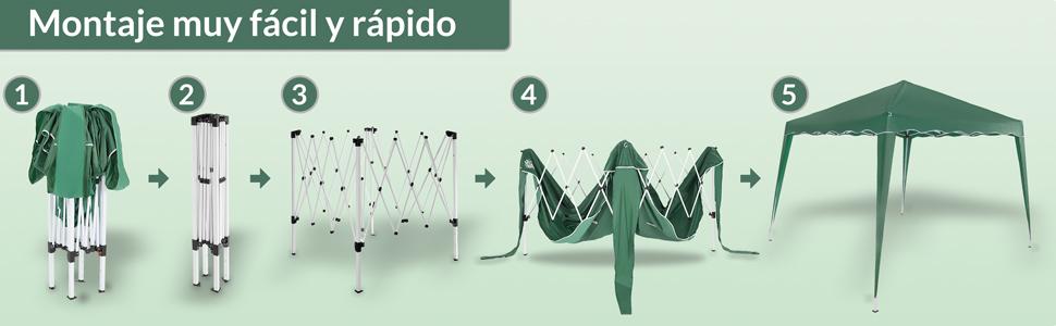 Deuba Pabellon de Jardin cenador Capri Verde 3x3 m Carpa Plegable de jardín Impermeable y Pop Up para Eventos Camping