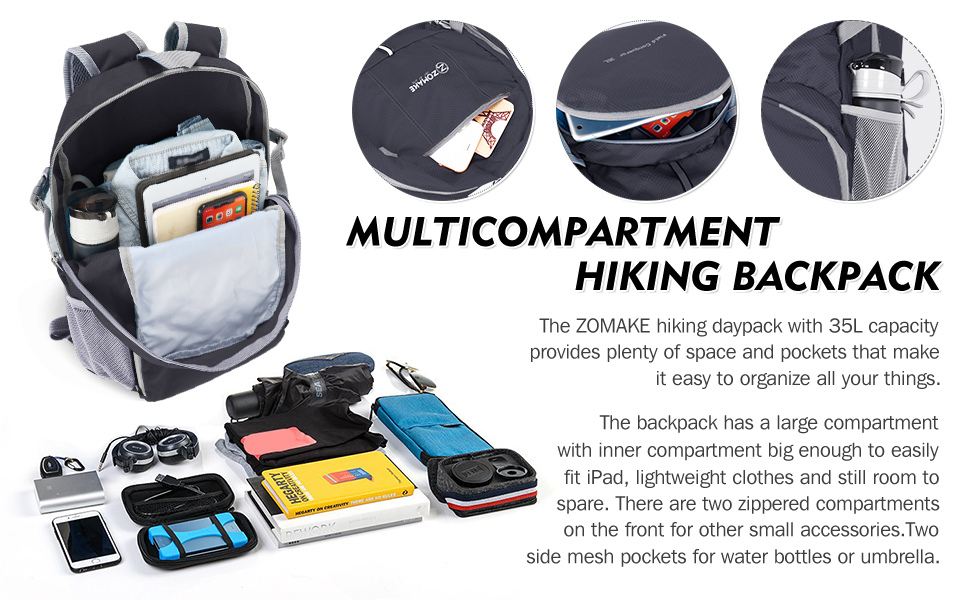 35L multicompartment hiking daypack