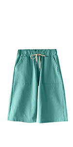Women's Summer Casual Drawstring Waisted Linen Clothing Shorts