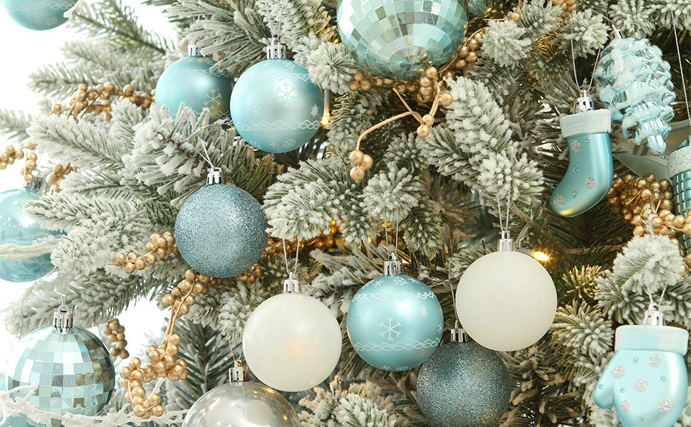 Red Sea Team 86 Pieces of Assorted Christmas Ball Ornaments Shatterproof Seasonal Decorative Hanging Baubles Set with Reusable Hand-held Gift Package for Holiday Xmas Tree Decorations