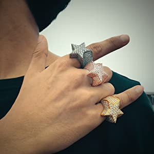 iced out pinky punk rings for men