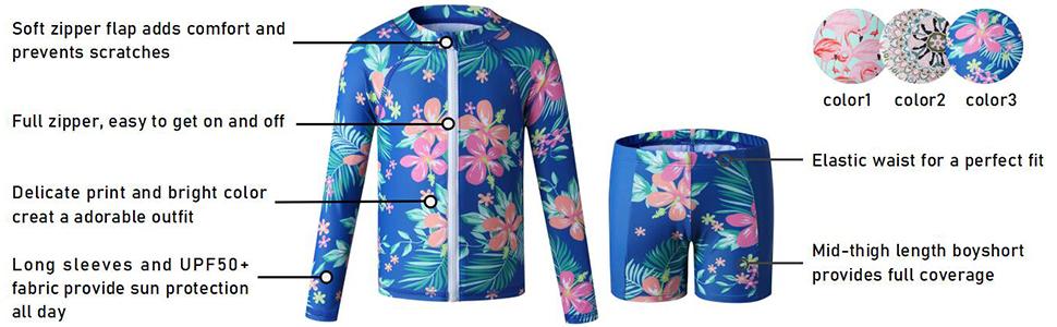 Caracilia Girls' Long Sleeve Floral Zip Up Rashguard Swim Set