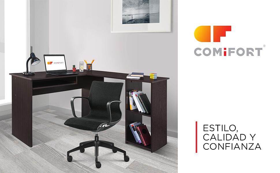 COMIFORT Escritorio Forma L - Mesa de Estudio con Estantería de ...
