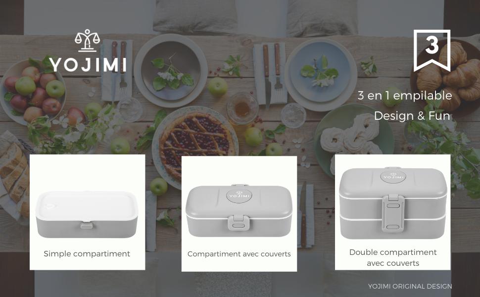 Lunch Box Bento compartiment separateur couverts design BPA bureau école micro-onde lave-vaisselle