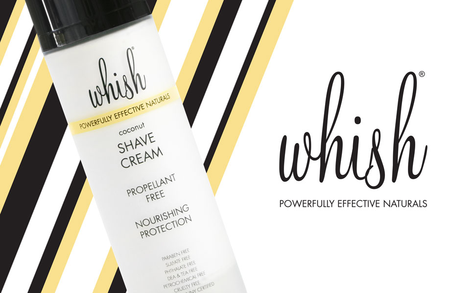 Whish logo, Organic and all natural Coconut Shave Cream in 5 oz propellant free tube, made in USA