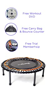 fit bounce pro adult mini trampoline folding rebounder fitness trampoline with handle