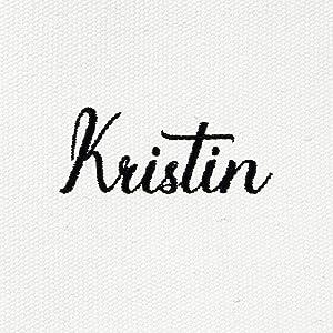 kristin name design up close quality stitching