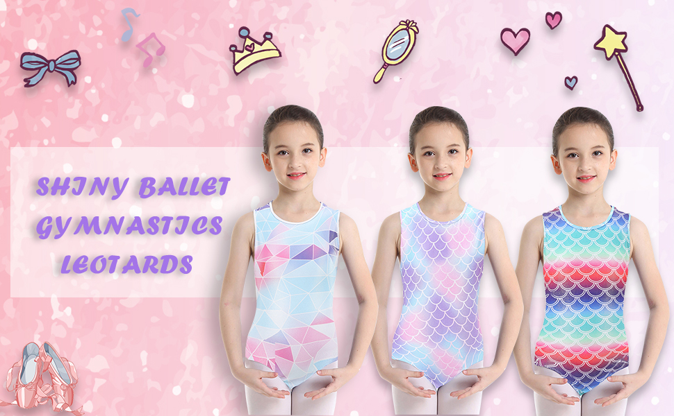 Happy Cherry Children Girls Gymnastics Leotards Sleeveless//Long Sleeve Shiny Sparkle Ballet Leotard Dancewear Practice Dancing Costume Multiple Colors 5-14 Years