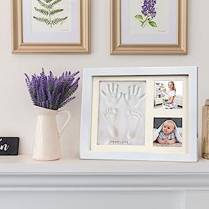 wall decoration table decor newborns handprints frames album time souvenir silver shadow registries