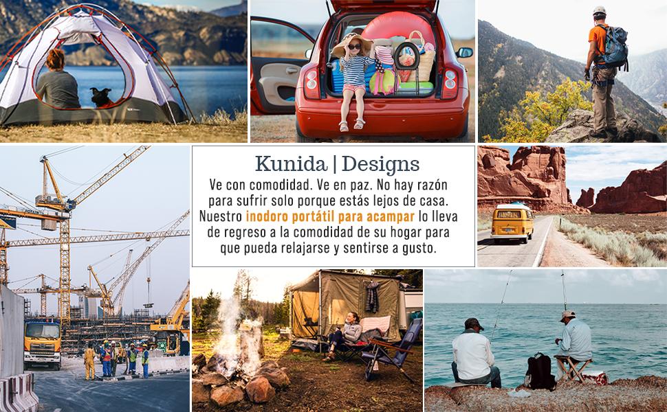 Kunida Designs Silla Portátil para Inodoro con Inodoro para Acampar - Cómoda Plegable para La Cabecera De La Cama - Asiento De Vapor Yoni - Porta ...