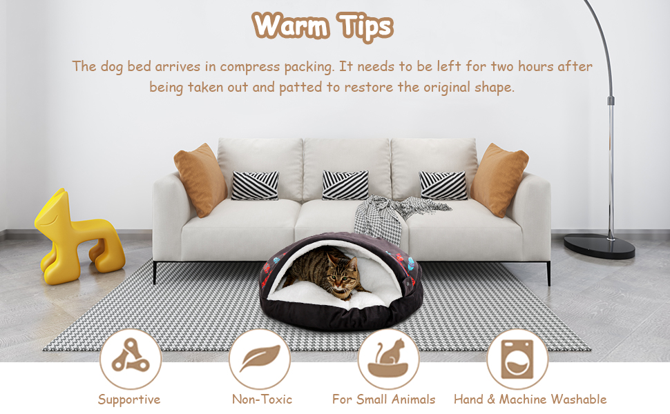 Small Dog Bed & Cat Bed - Cat Beds for Indoor Cats Cave, Washable Super Soft Covered Pet Bed,
